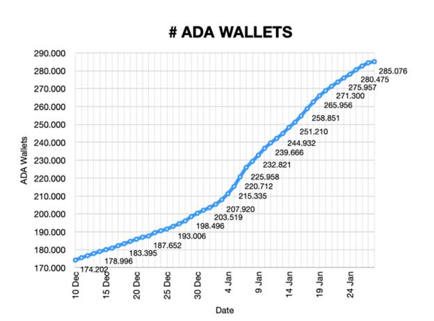 Gráfico que muestra el aumento en la cantidad total de billeteras ADA desde el 10 de diciembre de 2020 hasta el 25 de enero de 2021 (Fuente: Pieter Nierop)