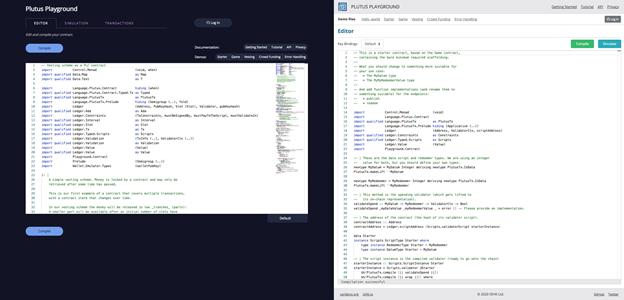 Captura de pantalla que muestra el antiguo editor Plutus a la izquierda y la nueva interfaz a la derecha (Fuente: IOHK)