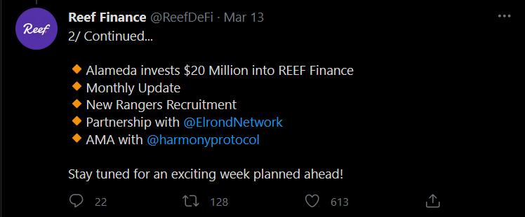 Tweet de Reef Finance