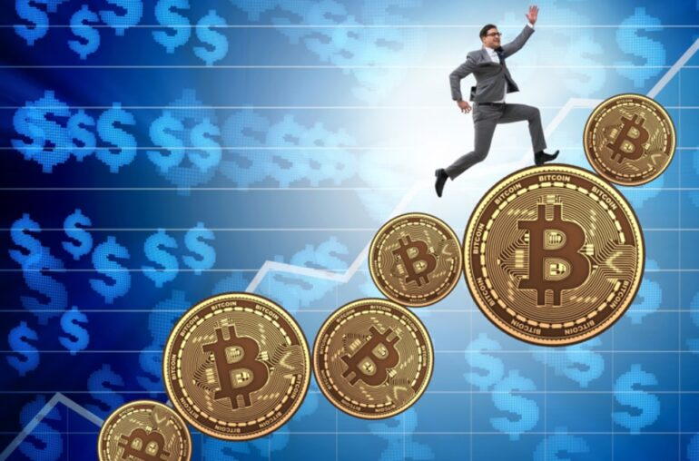 Picture of a man running up bitcoins