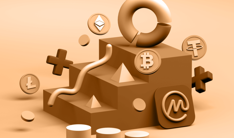 Picture brown staircase with various crypto coins around it